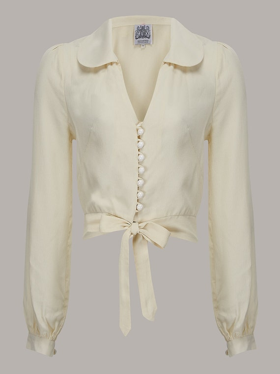 1940s Blouses and Tops 40s Vintage Inspired Clarice Blouse in Cream by The Seamstress of Bloomsbury $50.32 AT vintagedancer.com