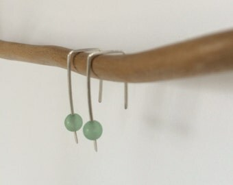 Handmade Sterling Silver Square Wire Earrings with Green Aventurine Bead