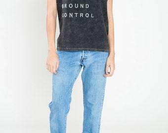 GROUND CONTROL tee with silver embroidery