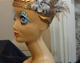 1920s Owl Feather Flapper Gold Sequin Custom Headband