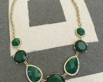 Green Bib Statement Necklace