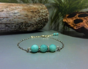 Amazonite in 925 silver bracelet