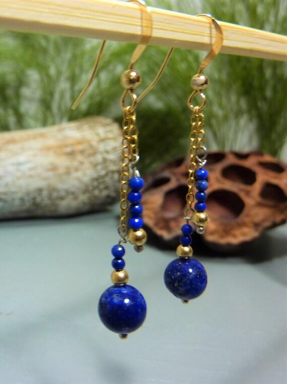 Lapis lazuli - gold earrings * gold filled 14 k