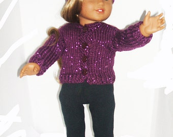 American Girl Doll  Handknit Cardigan  in Sparkly Plum  With  Matching Hat