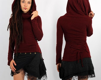 Pullover Top Fairy, Festival, Boho for Women, Alternative Clothing, big collar falling on shoulders, lacing-up, pointy longsleeves, hood