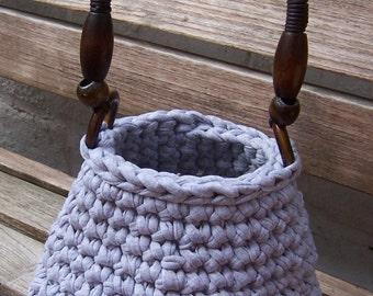 Hand Crocheted Grey Bucket-style Bag with a Wooden Handle, Handmade Bag , Crocheted Bag