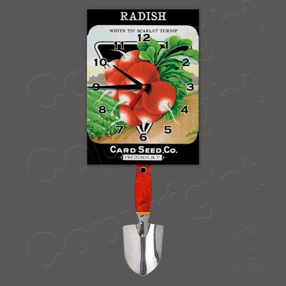 Radish Seed Package Clock with Swinging Trowel Pendulum • Gardener's Clock