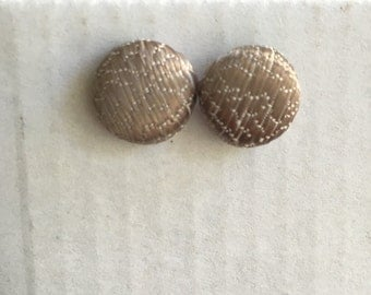 15mm Brown Shimmer Textured Fabric Studs