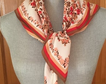 Vintage Floral Scarf, Pink, Red, Tan and Taupe Florals With Stripe Border, Vintage Pink Floral Head Scarf