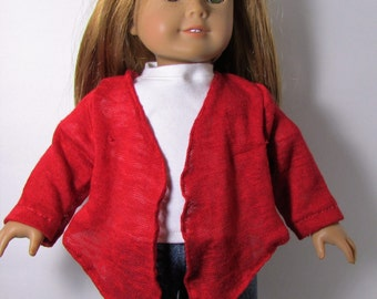 "18"" Doll Clothes fit American Girl Open Cardigan Sweater Jacket with Handkerchief Hemline RED KNIT"