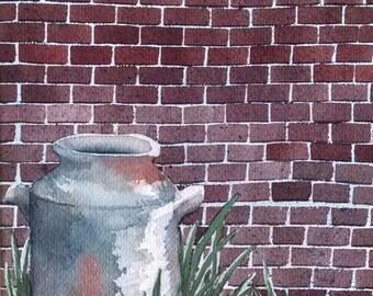 Original Watercolor Painting Pot