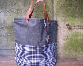 Totebag, cotton, denim and leather. Blue Denim and gingham cotton. Handmade