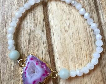 Druzy Geode & Moonstone Bracelet