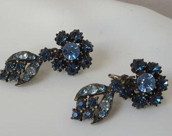 Light  Blue Stone with Dark Blue Dangle Earrings -Vintage
