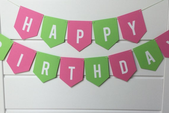 bright pink and lime green happy birthday banner