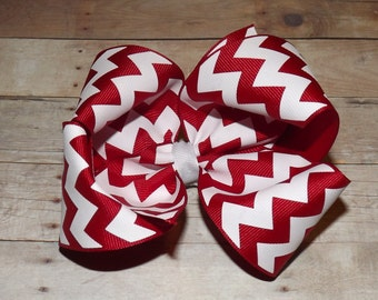 "6"" Red Chevron Boutique Hair Bow"
