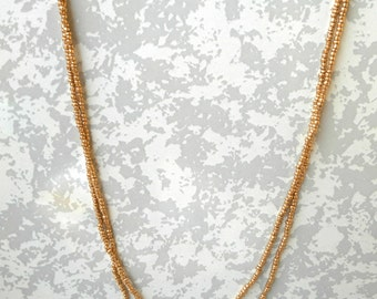 Gold Beaded Double Wrap Necklace, Gold Multistrand necklace, seed bead wrap necklace, seed bead necklace, layering necklace.