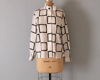 1980s Albert Nipon blouse   geometric squares print   minimalist top