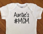 SALE! Aunties Hashtag MCM Shirt, Boy Baby Outfit, Hashtag Man Crush Monday Bodysuit, Infant Onesie®, Infant Boy Baby Shower Gift