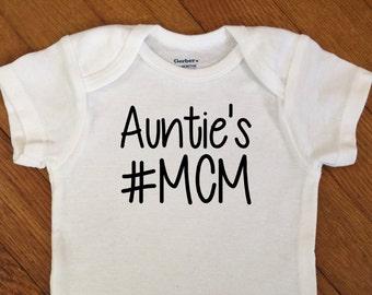 SALE! Aunties Hashtag MCM Shirt, Boy Baby Outfit, Hashtag Man Crush Monday Bodysuit, Infant Onesie®, Infant Boy Baby Shower Gift
