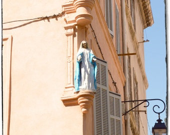 French photography/ Mediterranean picture/Virgin in Marseille / Provence home decor/ beige and blue decor / 5 x 5 or 10 x 10 inches