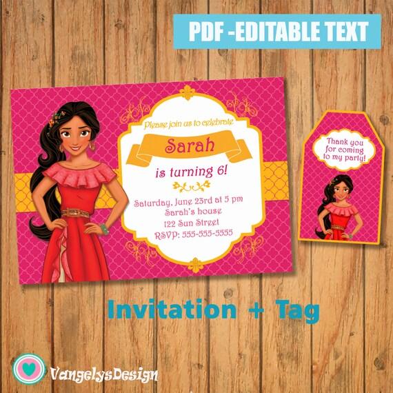 INVITACION ETIQUETA Elena de avalor PDF Editable