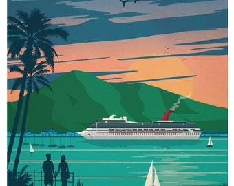 St. Thomas Poster, St Thomas Travel Poster, St Thomas, Travel Poster, Cruise Poster, Travel Decor, Vintage Decor, Cruise Decor, Boat Decor