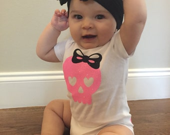 Punk Bodysuit, Rock Bodysuit, Skull Bodysuit, Baby Girl, Rock & Roll Outfit, Punk Infant Outfit