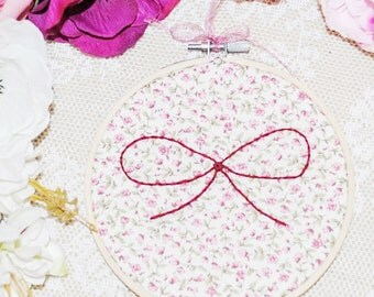 Little bow and floral hand stitched embroidery hoop