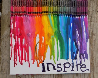 Rainbow Melted Crayon Art - RebeccaAnneCreations