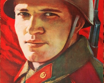 1988 Original Soviet Propaganda Poster with a Red Army Soldier | Authentic Communist Poster
