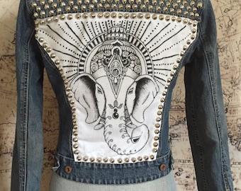 XS Studded Denim Jacket with HAND-DRAWN Ganesha Elephant Head Patch on Back Size Extra Small