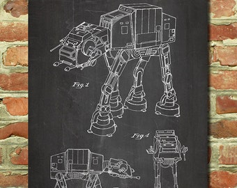 AT-AT Walker Star Wars Patent Poster, Star Wars Movie Poster, Star Wars Room Decor, Boyfriend Star Wars Gifts for Him, Groomsman Gift P134