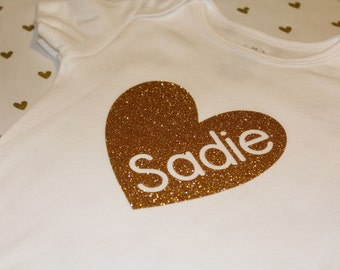 Gold or Pink Monogrammed Baby Girl Heart Top