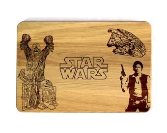 STAR WARS Cutting Board Han Solo C-3PO R2-D2 Chewbacca Chewey Birthday present Housewarming gift Anniversary gift Kitchen decor Gift for him