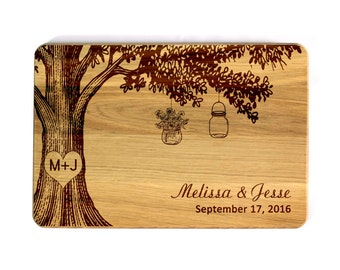 Wedding Cutting board Mason Jar Family tree Personalized Cutting Board Wedding gift custom Wedding Gift for couple Bridal Shower Gift
