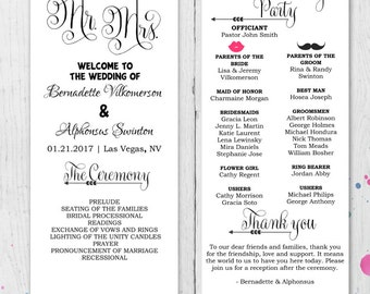DIY Fun Wedding Program Template Printable Editable Digital Instant Download Ceremony