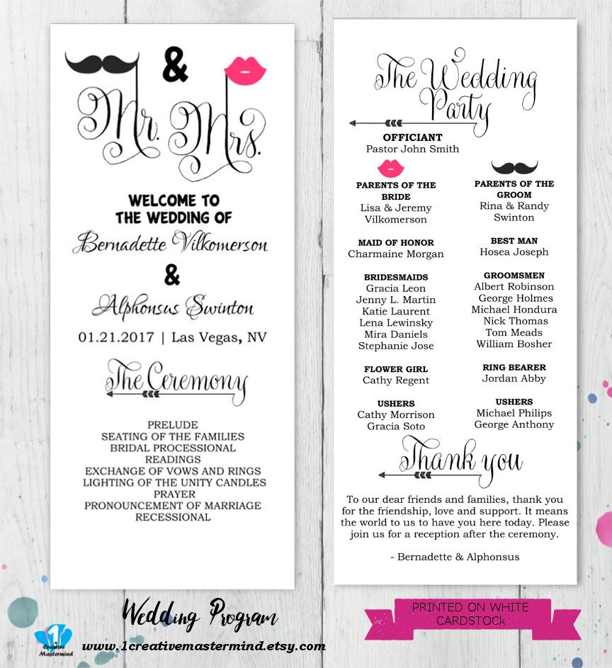 Free Printable Wedding Program Templates: DIY Fun Wedding Program Template Printable Editable Template