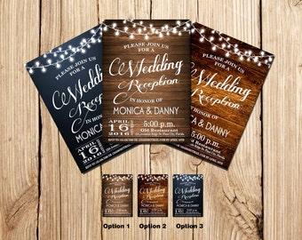 WEDDING RECEPTION Invitation, PSVP, Rustic Wedding Reception Invitation, Chalkboard, Wooden