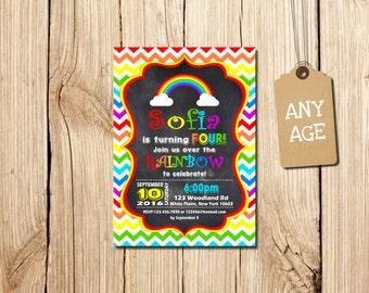 RAINBOW BIRTHDAY INVITATION, Rainbow Invitation, Rainbow Party, 4th birthday, Chevron Birthday Invitation, Chevron Rainbow  Invitation