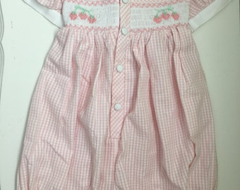 Vintage Hand Smocked Romper Pink & White with Strawberries Size 24 Months 2T