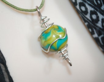 Folk Boho Wire wrapped caged round Beaded Pendant w/ 1.5mm green Waxed Cotton Cord modern necklace