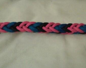 Pink, Black, & Blue 8-Strand Braid Paracord Leash