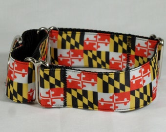 Maryland State Flag Martingale Collar With Matching Leash
