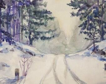 Winter road ORIGINAL watercolor painting