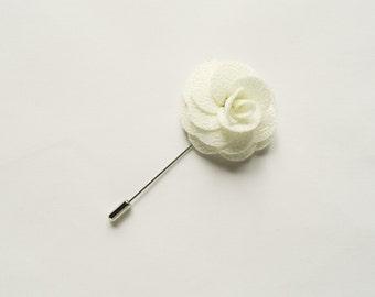 Men's White Flower Lapel Pin Wedding Boutonniere Wedding Lapel Pin groomsmen lapel pin