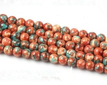 4 6 8 10mm Natural Rain Stone Beads, Red and Blue Multicolor Beads, Semi Precious Round Stone Beads, Watercolor Beads Wholesale