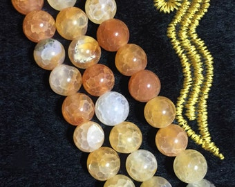 6-10mm Natural Agate Beads, Orange Yellow White Round Beads Transparent, Healing Gemstone Wholesale, Pastel Orange, Jewelry Supply.SKU#80