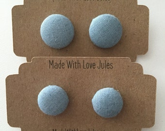 Blue fabric covered earrings