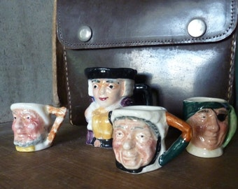 lancaster sandland / miniature toby jugs / set of four / vintage toby jugs / collection of toby jugs / collection of character jugs